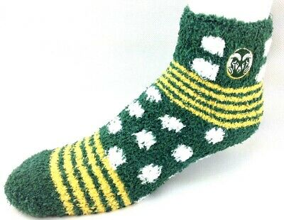 f5fc4c38 COLORADO STATE RAMS NCAA For Bare Feet Homegator Green Fuzzy Socks