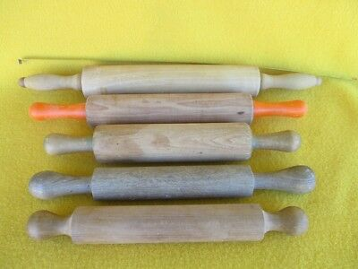Vintage Wooden Rolling Pins Food Pastry Cook Kitchen Pies Kauri Pine Huon Old