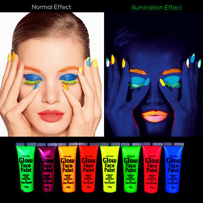 NUOLUX UV Glow Blacklight Face and Body Paint Fluorescent Pigment and 6x Brushes