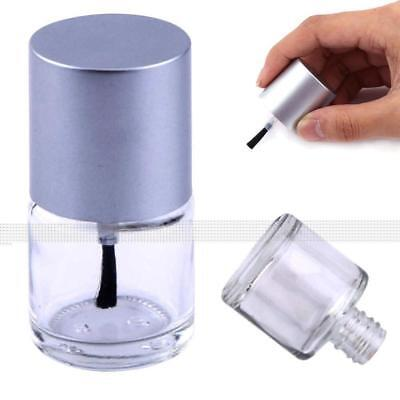5/8/10/15ml New Empty Nail Polish Glass Bottle Storage Container with Silver Cap