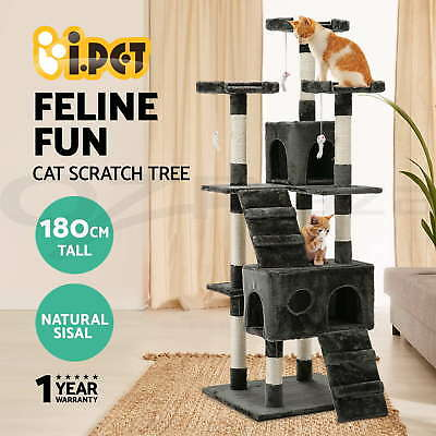 Cat 180cm Scratching Tree Post Condo Toy Multi-level Sisal Pole Grey by i.Pet