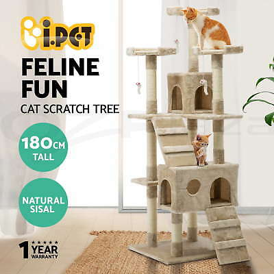 Cat 180cm Scratching Tree Post Condo Toy Multi-level Sisal Pole Beige by i.Pet