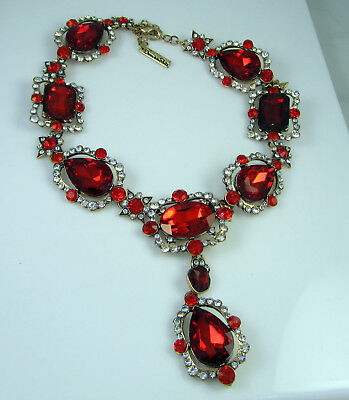 Vintage Huge Signed Oscar De La Renta Goldtone Bright Red Statement Necklace