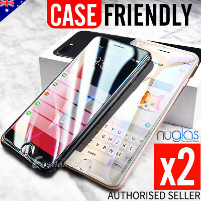 2x Apple iPhone 8 Plus 7 6s 5s se GENUINE NUGLAS Tempered Glass Screen Protector