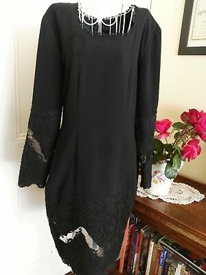 VINTAGE 1980's BLACK DRESS BY TEENA VARIGOS