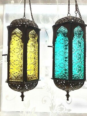 Beautiful Vintage pair of hanging Moroccan lanterns blue and amber glass