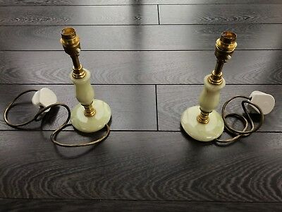 """Pair of lamp stands - Green Onyx and Brass 24cm 9 ½"""" tall - Retro Vintage"""