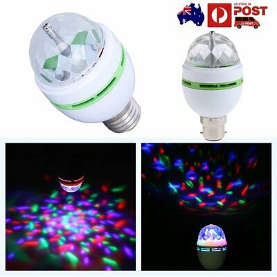 3W RGB LED Crystal Ball Rotating Stage Light Bulb Disco Party Bulb Lamp E27 B22