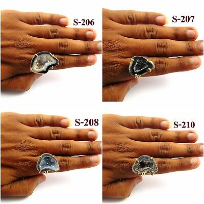 18K Gold Plated Geode Druzy Ring Statement Adjustable Alloy Overlay Jewelry-10