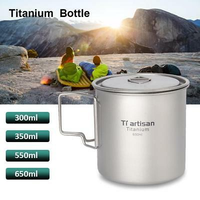 Foldable 300-650ml Titanium Pot Water Cup Outdoor Camping Mug Spoon with Lid
