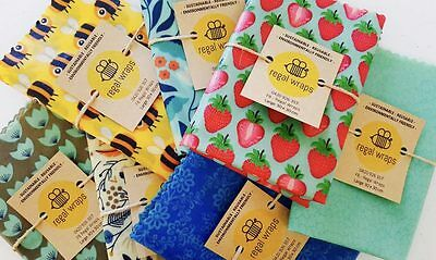 5 x Large Reusable Beeswax Food Wrap - 30 x 30 cm - environmentally friendly