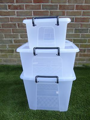 Heavy Duty Stacking Plastic Storage Boxes with Lid Locking Handles 3 sizes