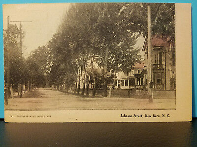 VERY OLD Postcard PC Johnson Street New Bern NC EXCELLENT CONDITION!