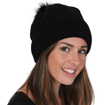 Evvor Womens Cable Knit Warm Faux Fur Lined Winter Beanie