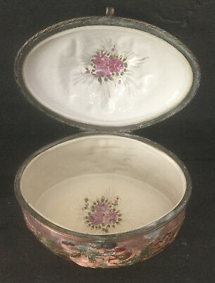 "Lg Antique Original Capodimonte Porcelain Jewelry Casket Naples ""n"" Crown Mark"