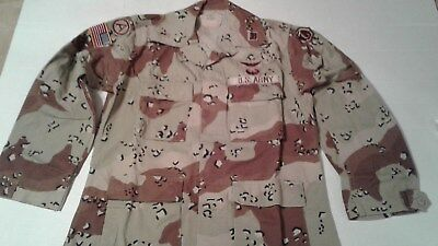 Us Army Chocolate Chip Uniform Bdu Shirt W/in Country Patches Size Medium