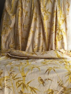 DIVINE ANTIQUE FRENCH c1930's PRINTED COTTON BIRDS BAMBOO FABRIC PANEL CURTAIN