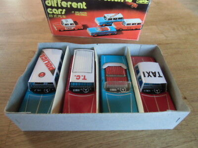 Blechspielzeug - Car Set with 4 different cars, OVP - Made in China MF 946