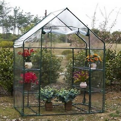 New Walk In Greenhouse PVC Plastic Garden Grow Green House with 6 Shelves