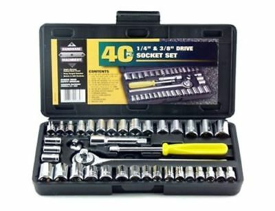 Drive Socket Set Hand Tool Kit In Compact Box 40 Piece Tools Home Cheap Man Gift