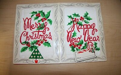 2 Mid Century Vtg Merry Terry Cloth Merry Christmas Towel Gift Card Happy