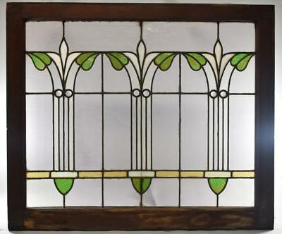 Antique Arts & Crafts Floral Design Leaded Stained Textured Glass Window