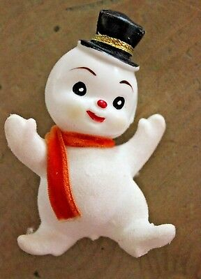 """Vintage Snowman Flocked & Plastic with Top Hat Pick 3.5"""" tall"""