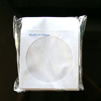 """100 Wholesale CD DVD R Disc Paper Sleeve Envelope with 4"""" Window & Flap"""