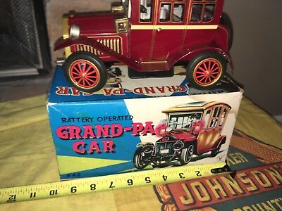 Vintage Tin Litho Battery Operated 1960s Toy Grandpa Car Truck Antique Old Metal
