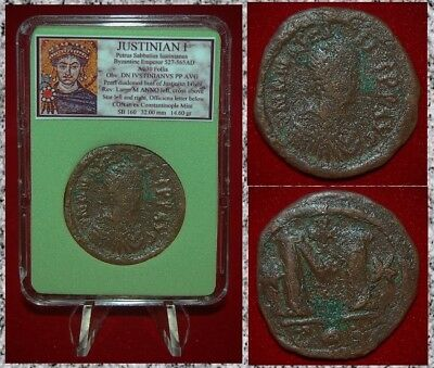 Ancient Bezantine Empire Coin Of JUSTINIAN I Cross on Reverse L Large Coin