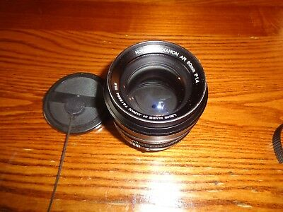 Konica Hexanon AR 50mm f/1.4 Manual Focus AR Mount Lens  WITH CAPS FREE SHIP