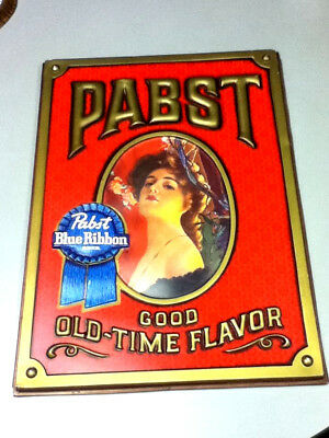 Pabst beer sign 3-D Gibson girl wall tacker large vintage blue ribbon brewery J2