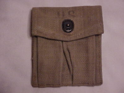 "ORIGINAL Brit-Made Khaki M1 Carbine Magazine ""Stock"" Pouch w/ Unit Provenance!"
