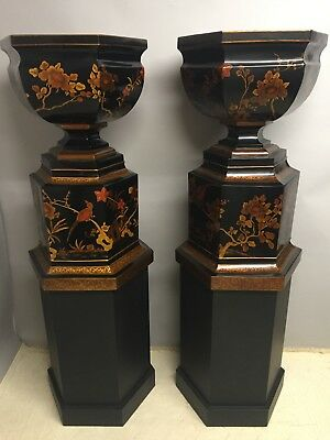 Chic Pr. of Hand Painted Tole and Wood Chinoiserie Style  MAITLAND SMITH Urns