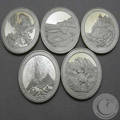 2012-S Bu National Parks Quarter Proofs Set Of 5 America The Beautiful