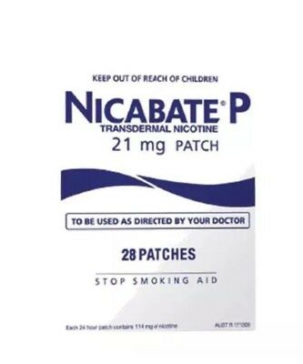 Nicabate P Patch 21Mg  Stop Smoking 24Hr Step 1 Manage Cravings 28 Patches