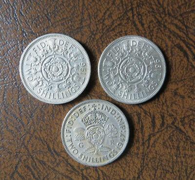 lot of 3, UK Two Shilling coins, 1947,1964,1967