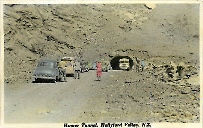 Hand Colored Real Photo Postcard Homer Tunnel Hollyford Valley New Zealand