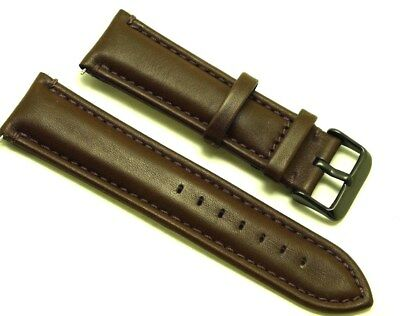 24mm Dark Brown High Quality Genuine Leather Watch Band - Black Buckle