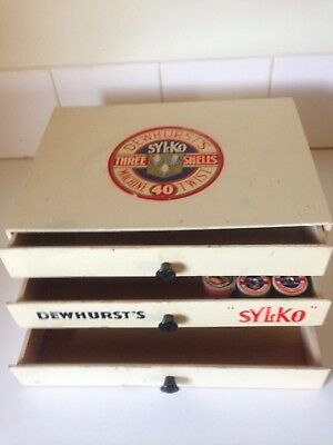 Vintage Dewhurst's Sylko Cotton Reel Shop Counter Display Drawers Advertising
