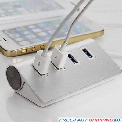 4-Port USB 3.0 Multi HUB Splitter Aluminum Adapter High Speed For PC Laptop