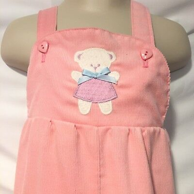 Vintage 80s Healthtex Overalls Pink 18 Months Baby Girl Pink Teddy Corduroy