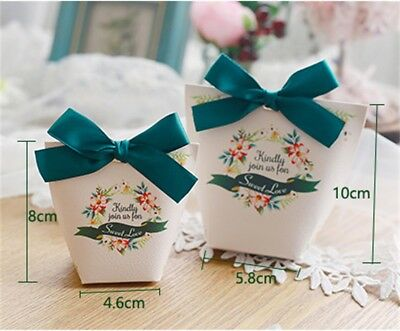 10/50pcs Candy Box Paper Gift Boxes Wedding Party Baby Shower Favors Ribbon Bag