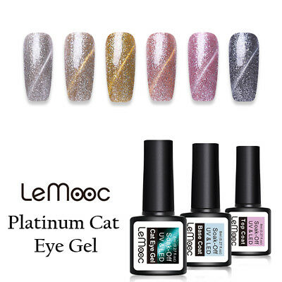 LEMOOC 8ml Soak Off UV Gel Platinum Cat Eye UV Gel Polish Glitter Nail Varnish