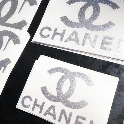 "2x Chanel Glitter Vinyl Stickers Glass Decals Transfers Silver Sparkly 3x4"" Coco"
