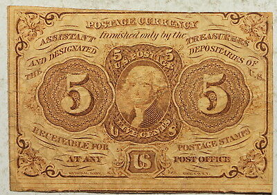 1863  1st Issue US Fractional Currency 5 Cents, FR 1230, VF