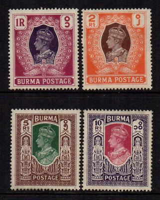 Burma 1946 High Value KGVI Definitives 1R to 10Rs (4) - SG 60/63 - MM