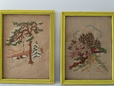 Vintage/Antique Pair of Linen Embroidered Hanging Pictures
