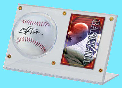 ULTRA PRO CLEAR ACRYLIC BASEBALL & CARD HOLDER DISPLAY NEW Ball Case Stand MLB