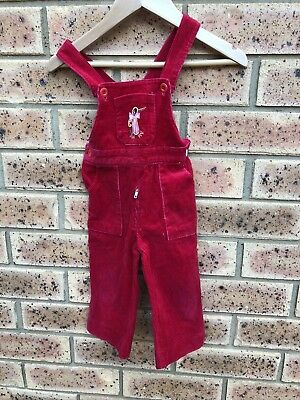 Vintage girls corduroy flared leg overalls dungarees size 0 pink retro